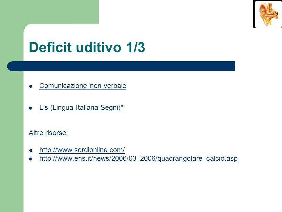 Deficit uditivo 1/3 Comunicazione non verbale Lis (Lingua Italiana Segni)* Altre risorse: http://www.sordionline.com/ http://www.ens.it/news/2006/03_2