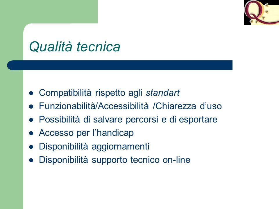 Qualità tecnica Compatibilità rispetto agli standart Funzionabilità/Accessibilità /Chiarezza d'uso Possibilità di salvare percorsi e di esportare Acce