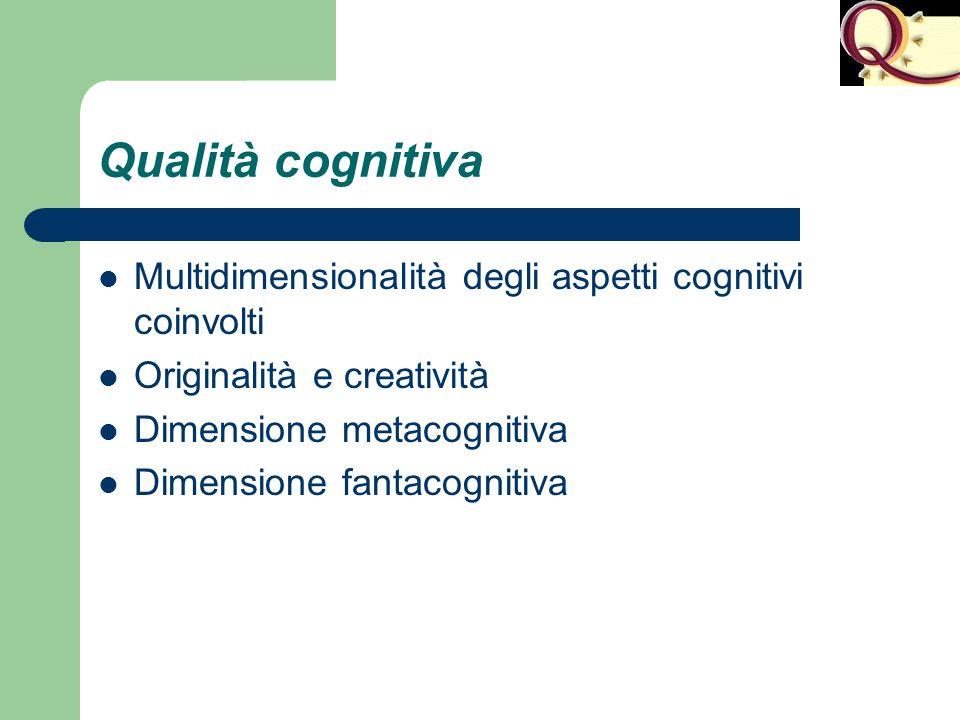Qualità cognitiva Multidimensionalità degli aspetti cognitivi coinvolti Originalità e creatività Dimensione metacognitiva Dimensione fantacognitiva