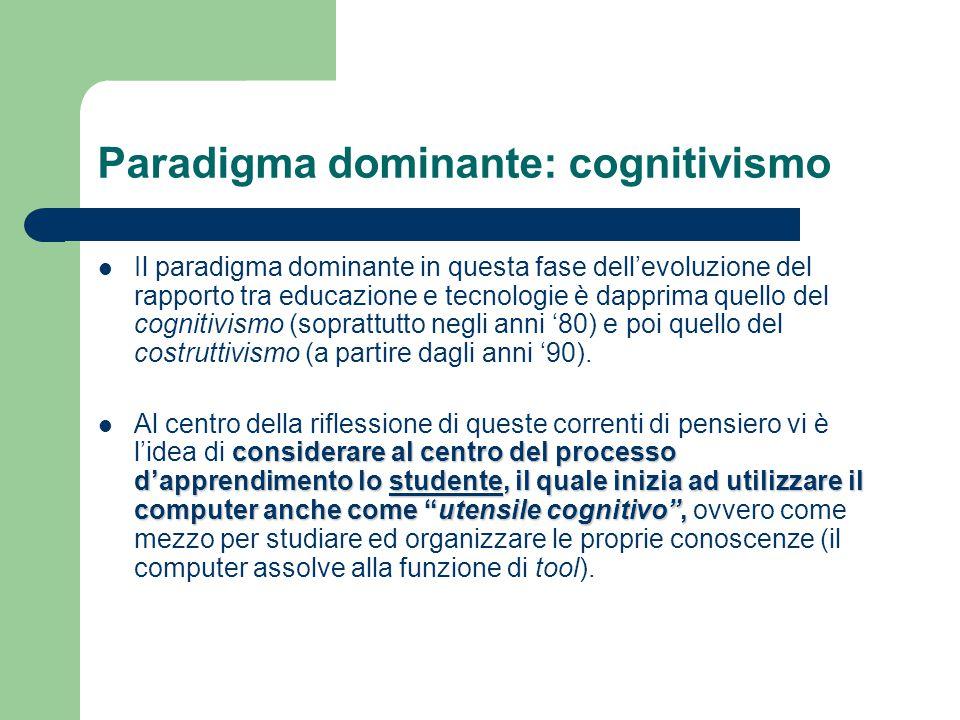 Paradigma dominante: cognitivismo Il paradigma dominante in questa fase dell'evoluzione del rapporto tra educazione e tecnologie è dapprima quello del