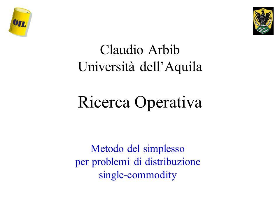 Claudio Arbib Università dell'Aquila Ricerca Operativa Metodo del simplesso per problemi di distribuzione single-commodity