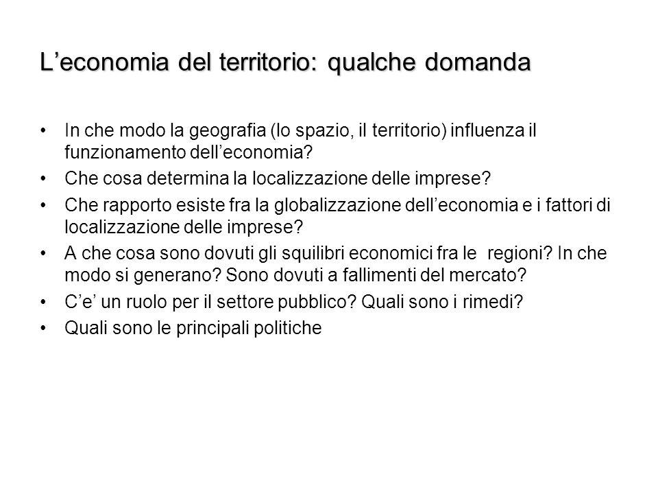 L'economia del territorio: qualche domanda In che modo la geografia (lo spazio, il territorio) influenza il funzionamento dell'economia.