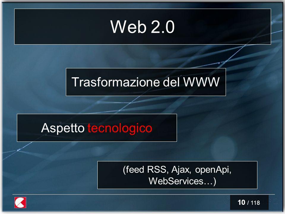 10 / 118 Web 2.0 Trasformazione del WWW Aspetto tecnologico (feed RSS, Ajax, openApi, WebServices…)