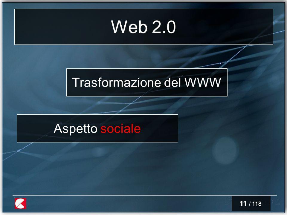 11 / 118 Web 2.0 Trasformazione del WWW Aspetto sociale