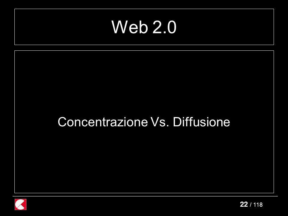 22 / 118 Web 2.0 Concentrazione Vs. Diffusione