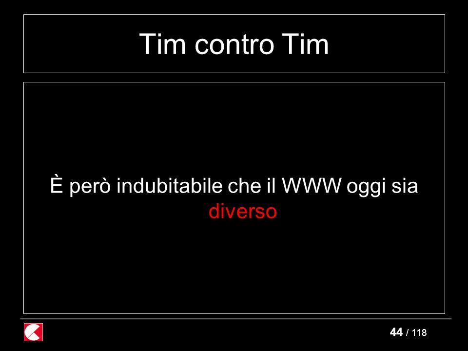 44 / 118 Tim contro Tim È però indubitabile che il WWW oggi sia diverso
