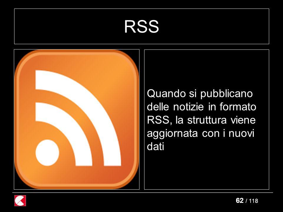 62 / 118 RSS Quando si pubblicano delle notizie in formato RSS, la struttura viene aggiornata con i nuovi dati