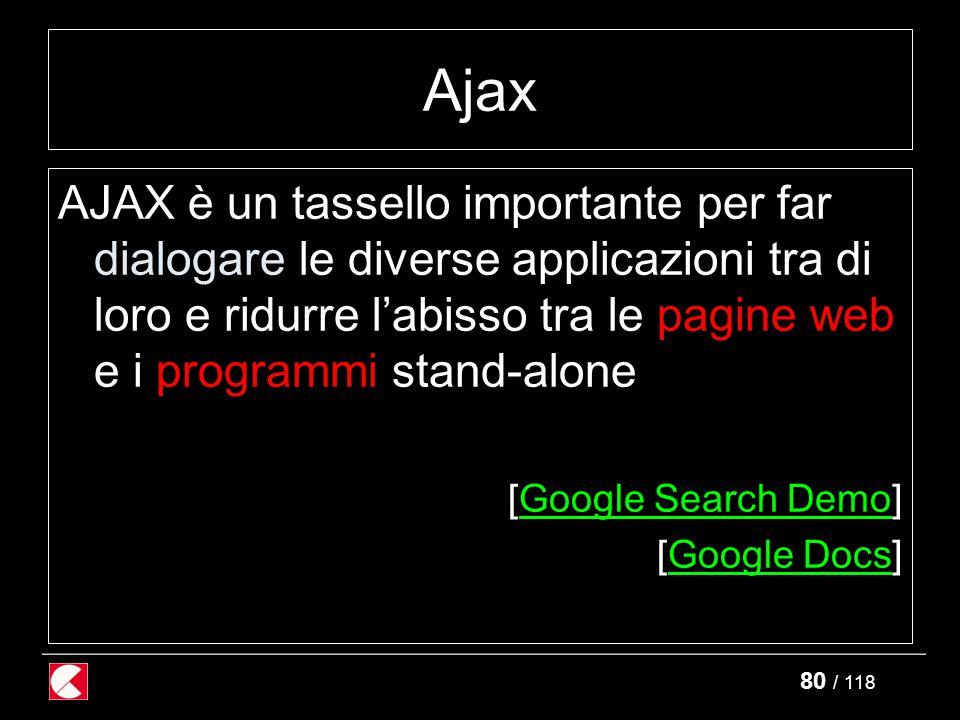 80 / 118 Ajax AJAX è un tassello importante per far dialogare le diverse applicazioni tra di loro e ridurre l'abisso tra le pagine web e i programmi stand-alone [Google Search Demo]Google Search Demo [Google Docs]Google Docs
