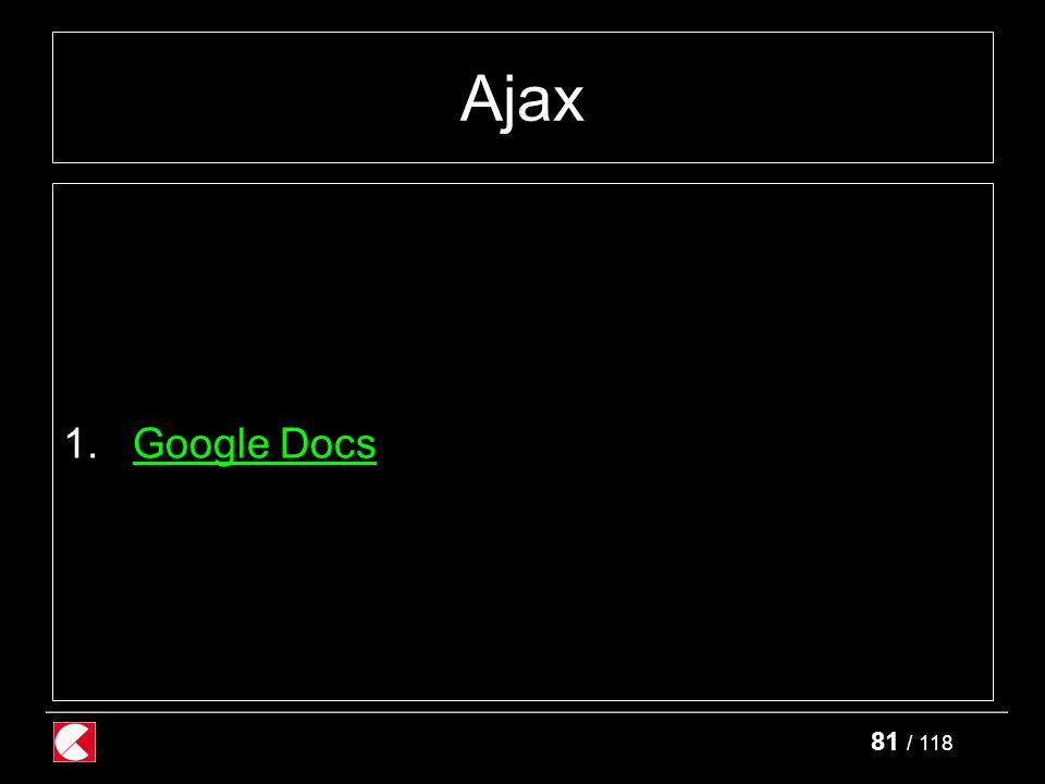 81 / 118 Ajax 1.Google DocsGoogle Docs