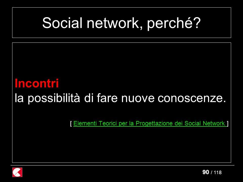 90 / 118 Social network, perché. Incontri la possibilità di fare nuove conoscenze.