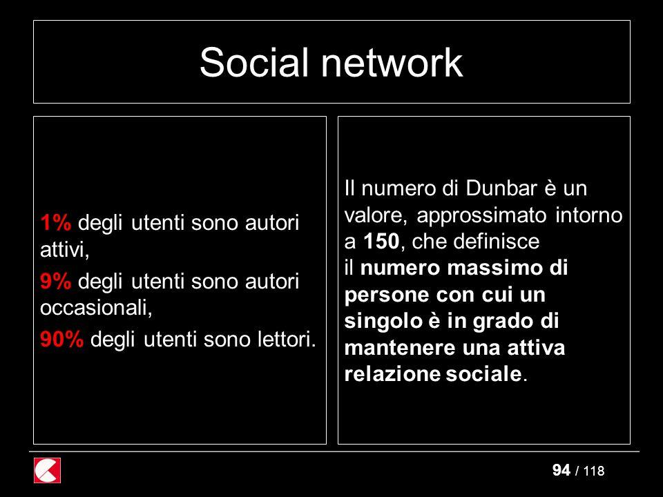 94 / 118 Social network 1% degli utenti sono autori attivi, 9% degli utenti sono autori occasionali, 90% degli utenti sono lettori.