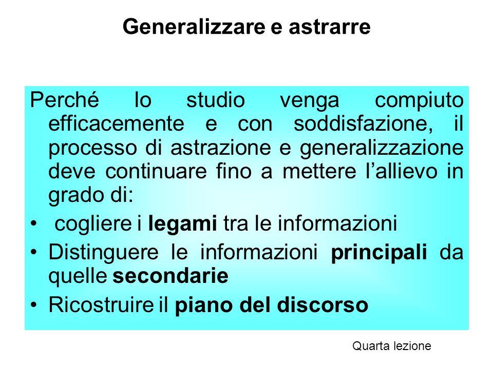 Generalizzare e astrarre Perché lo studio venga compiuto efficacemente e con soddisfazione, il processo di astrazione e generalizzazione deve continua