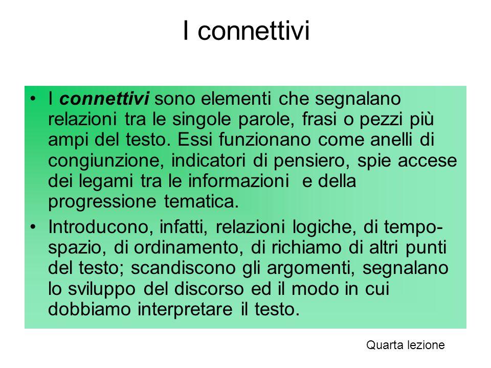 I connettivi I connettivi sono elementi che segnalano relazioni tra le singole parole, frasi o pezzi più ampi del testo. Essi funzionano come anelli d
