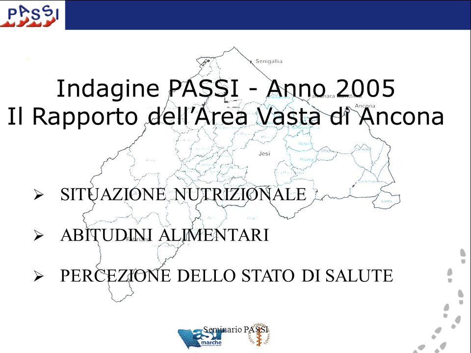 Seminario PASSI Indagine PASSI - Anno 2005 Il Rapporto dell'Area Vasta di Ancona  SITUAZIONE NUTRIZIONALE  ABITUDINI ALIMENTARI  PERCEZIONE DELLO STATO DI SALUTE