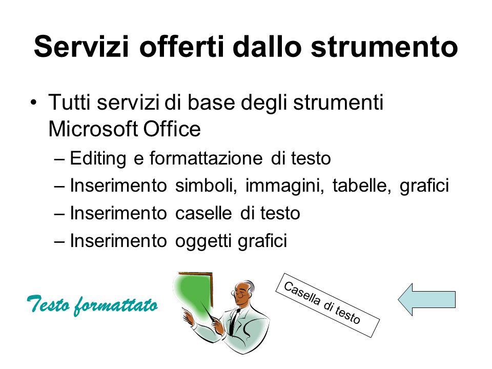 Servizi offerti dallo strumento Tutti servizi di base degli strumenti Microsoft Office –Editing e formattazione di testo –Inserimento simboli, immagin