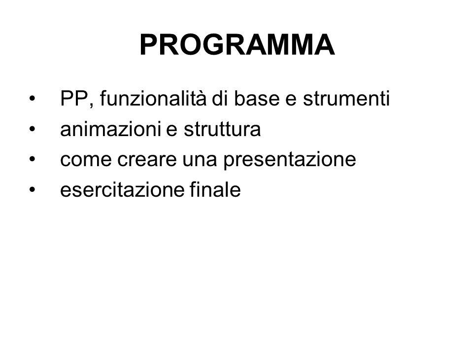 PROGRAMMA PP, funzionalità di base e strumenti animazioni e struttura come creare una presentazione esercitazione finale