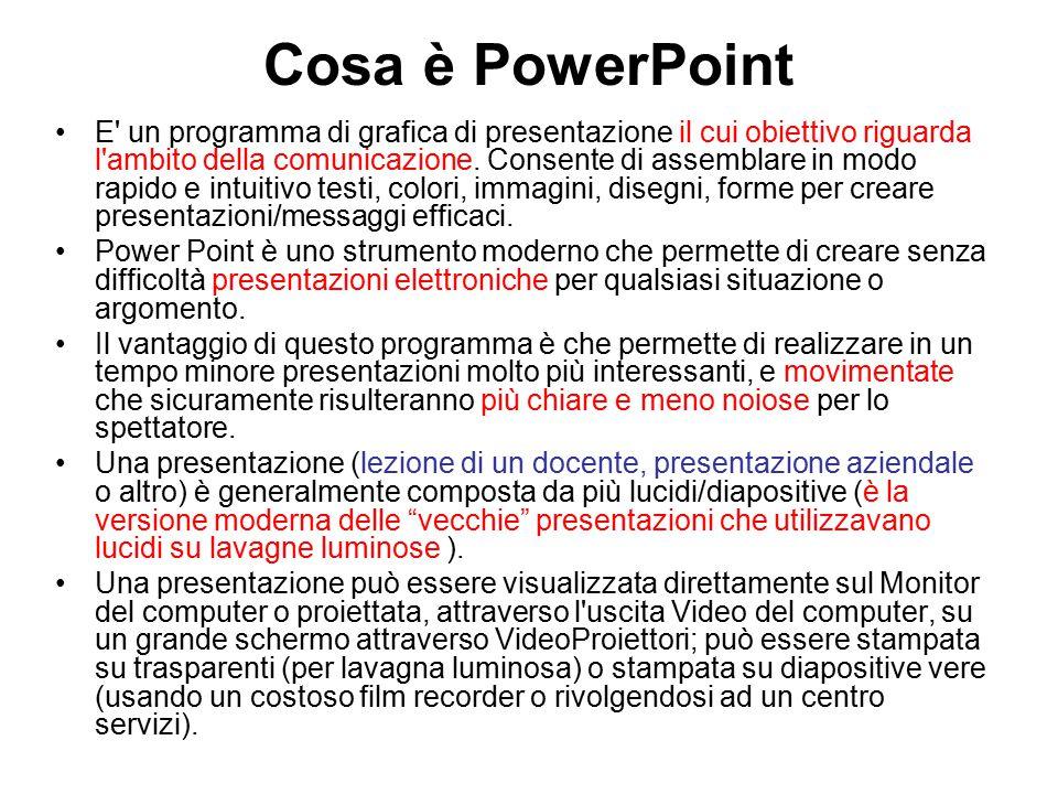 Cosa è PowerPoint E un programma di grafica di presentazione il cui obiettivo riguarda l ambito della comunicazione.
