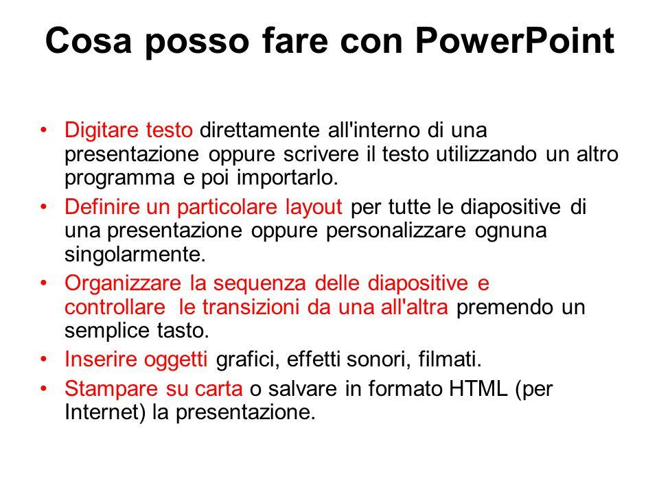Cosa posso fare con PowerPoint Digitare testo direttamente all interno di una presentazione oppure scrivere il testo utilizzando un altro programma e poi importarlo.