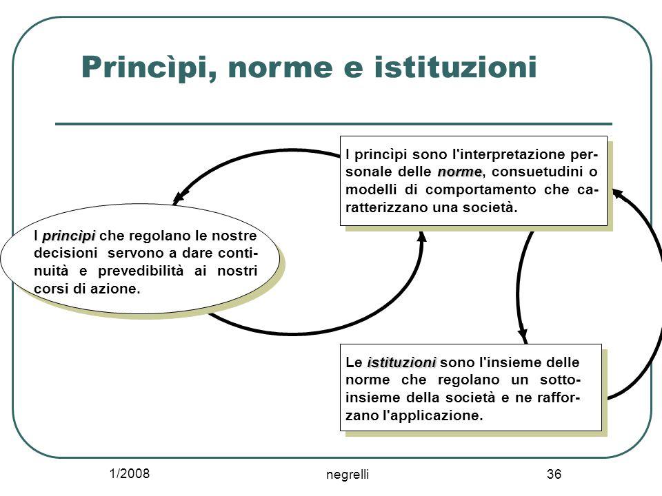1/2008 negrelli 36 Princìpi, norme e istituzioni princìpi I princìpi che regolano le nostre decisioni servono a dare conti- nuità e prevedibilità ai nostri corsi di azione.