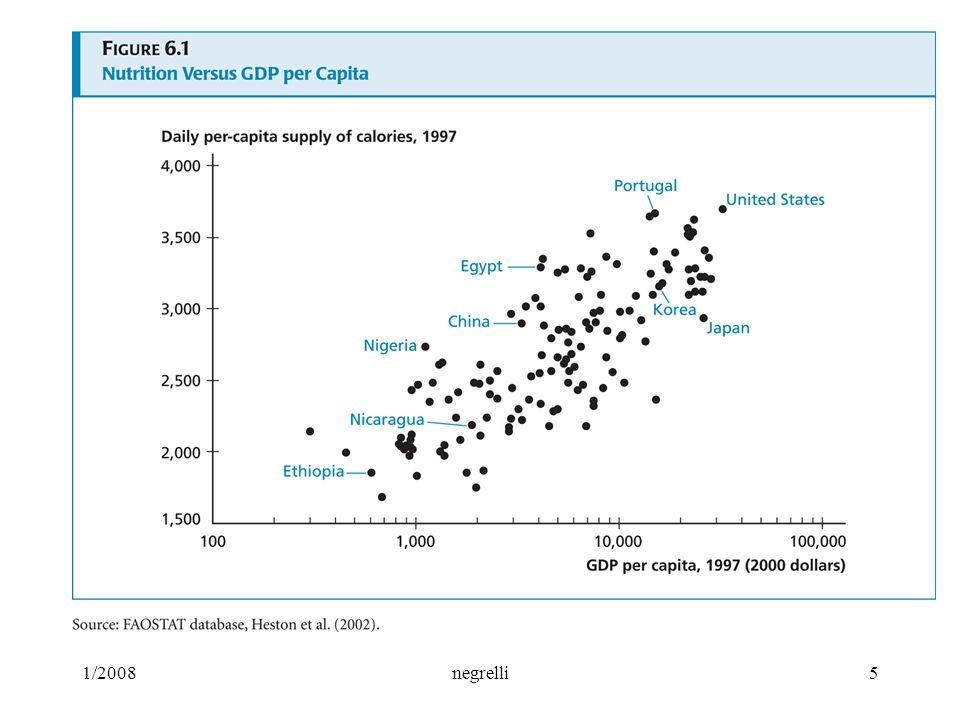 1/2008 negrelli 6 Capitale umano di benessere fisico correlazione tra salute e pil pro- capite: l'aspettativa di vita nei paesi più poveri meno di 60 anni, nei paesi più ricchi 75-80.