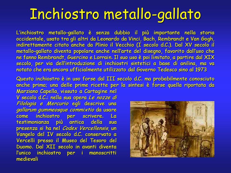 Inchiostro metallo-gallato L'inchiostro metallo-gallato è senza dubbio il più importante nella storia occidentale, usato tra gli altri da Leonardo da Vinci, Bach, Rembrandt e Van Gogh, indirettamente citato anche da Plinio il Vecchio (I secolo d.C.).