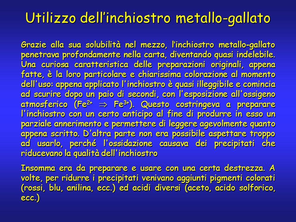 Utilizzo dell'inchiostro metallo-gallato Grazie alla sua solubilità nel mezzo, l'inchiostro metallo-gallato penetrava profondamente nella carta, diventando quasi indelebile.