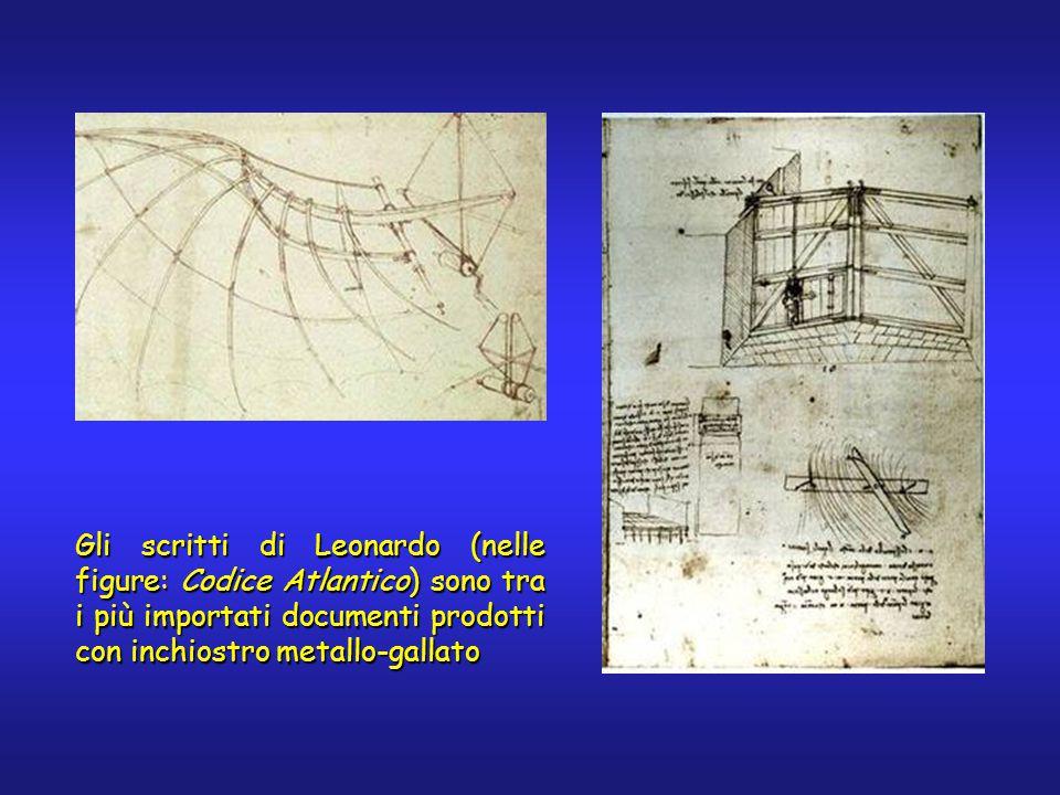 Gli scritti di Leonardo (nelle figure: Codice Atlantico) sono tra i più importati documenti prodotti con inchiostro metallo-gallato