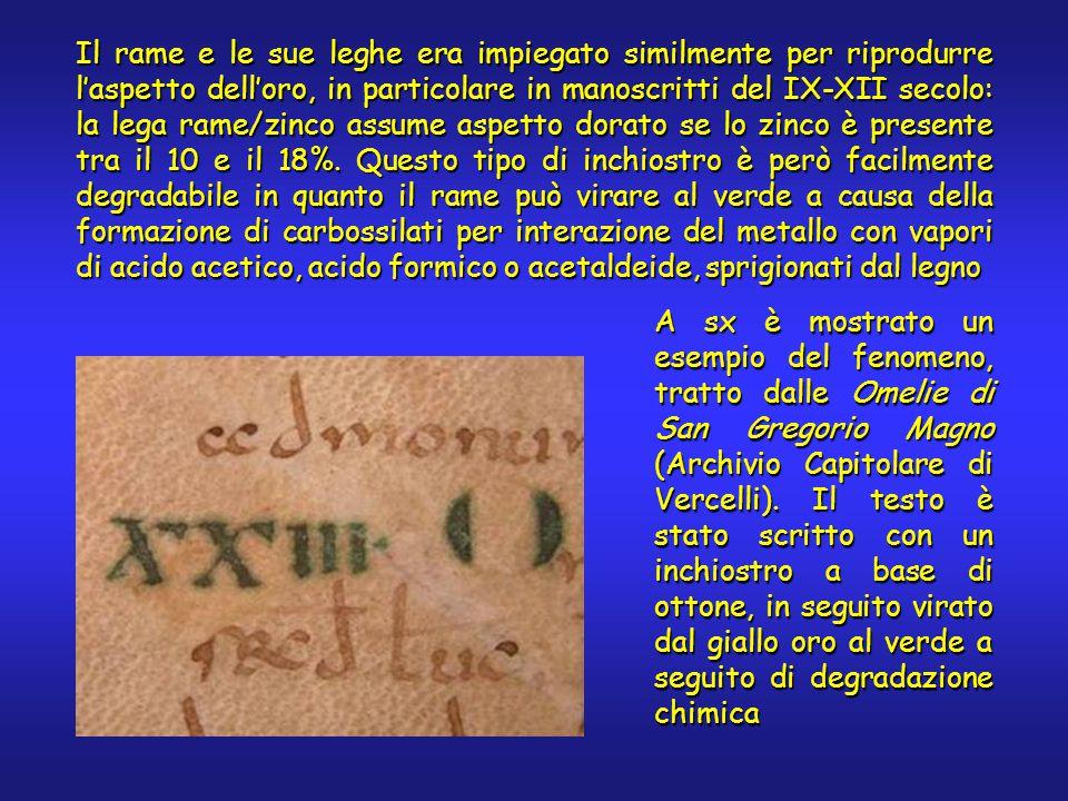 Il rame e le sue leghe era impiegato similmente per riprodurre l'aspetto dell'oro, in particolare in manoscritti del IX-XII secolo: la lega rame/zinco assume aspetto dorato se lo zinco è presente tra il 10 e il 18%.