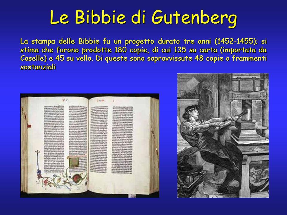 Le Bibbie di Gutenberg La stampa delle Bibbie fu un progetto durato tre anni (1452-1455); si stima che furono prodotte 180 copie, di cui 135 su carta (importata da Caselle) e 45 su vello.