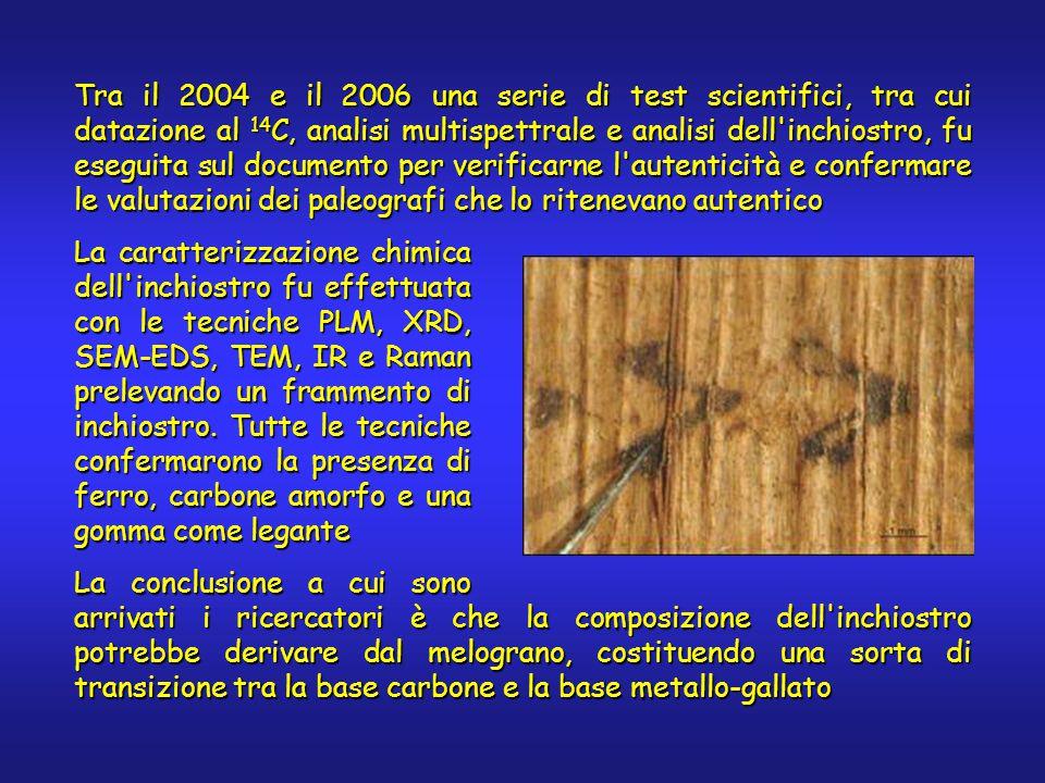 Tra il 2004 e il 2006 una serie di test scientifici, tra cui datazione al 14 C, analisi multispettrale e analisi dell inchiostro, fu eseguita sul documento per verificarne l autenticità e confermare le valutazioni dei paleografi che lo ritenevano autentico La caratterizzazione chimica dell inchiostro fu effettuata con le tecniche PLM, XRD, SEM-EDS, TEM, IR e Raman prelevando un frammento di inchiostro.