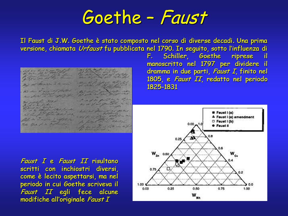 Goethe – Faust Il Faust di J.W. Goethe è stato composto nel corso di diverse decadi.