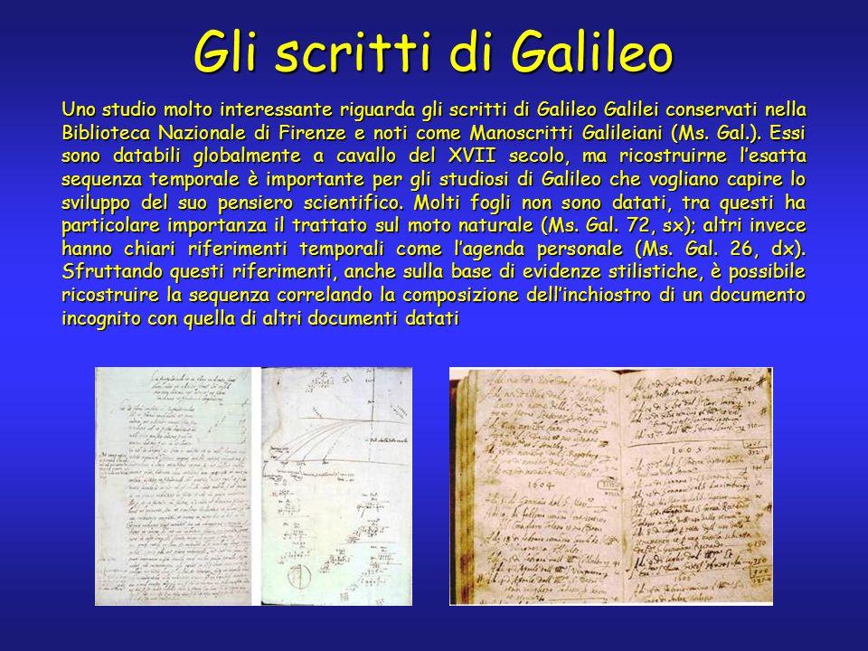 Gli scritti di Galileo Uno studio molto interessante riguarda gli scritti di Galileo Galilei conservati nella Biblioteca Nazionale di Firenze e noti come Manoscritti Galileiani (Ms.