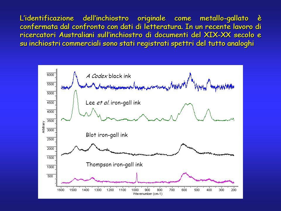 L'identificazione dell'inchiostro originale come metallo-gallato è confermata dal confronto con dati di letteratura.