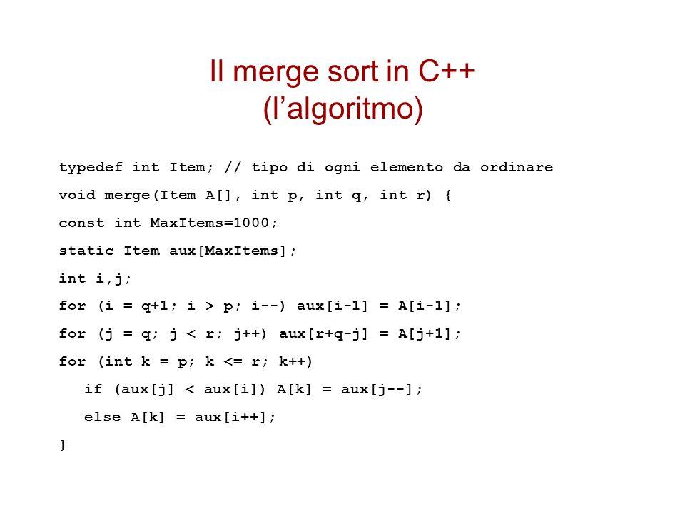 Il merge sort in C++ (l'algoritmo) typedef int Item; // tipo di ogni elemento da ordinare void merge(Item A[], int p, int q, int r) { const int MaxItems=1000; static Item aux[MaxItems]; int i,j; for (i = q+1; i > p; i--) aux[i-1] = A[i-1]; for (j = q; j < r; j++) aux[r+q-j] = A[j+1]; for (int k = p; k <= r; k++) if (aux[j] < aux[i]) A[k] = aux[j--]; else A[k] = aux[i++]; }
