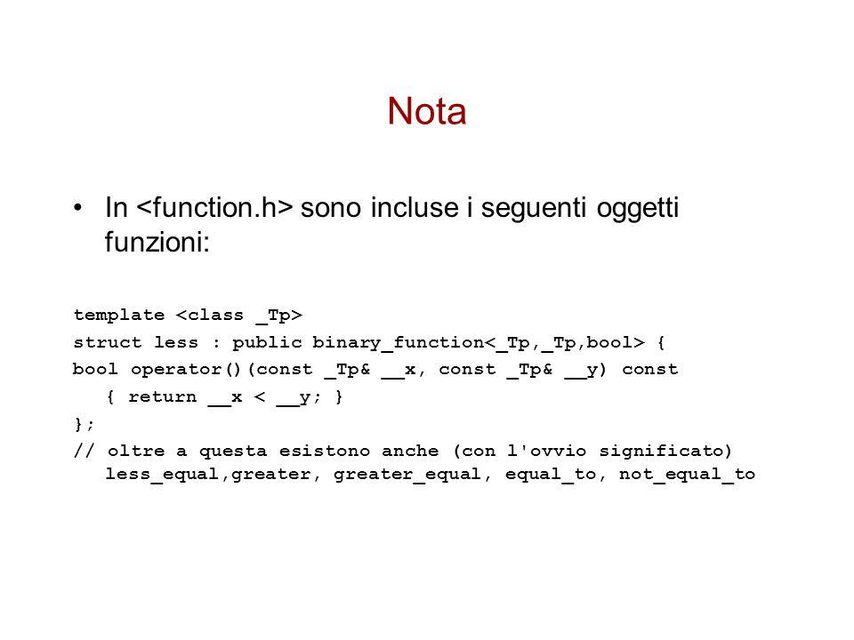 Nota In sono incluse i seguenti oggetti funzioni: template struct less : public binary_function { bool operator()(const _Tp& __x, const _Tp& __y) const { return __x < __y; } }; // oltre a questa esistono anche (con l ovvio significato) less_equal,greater, greater_equal, equal_to, not_equal_to