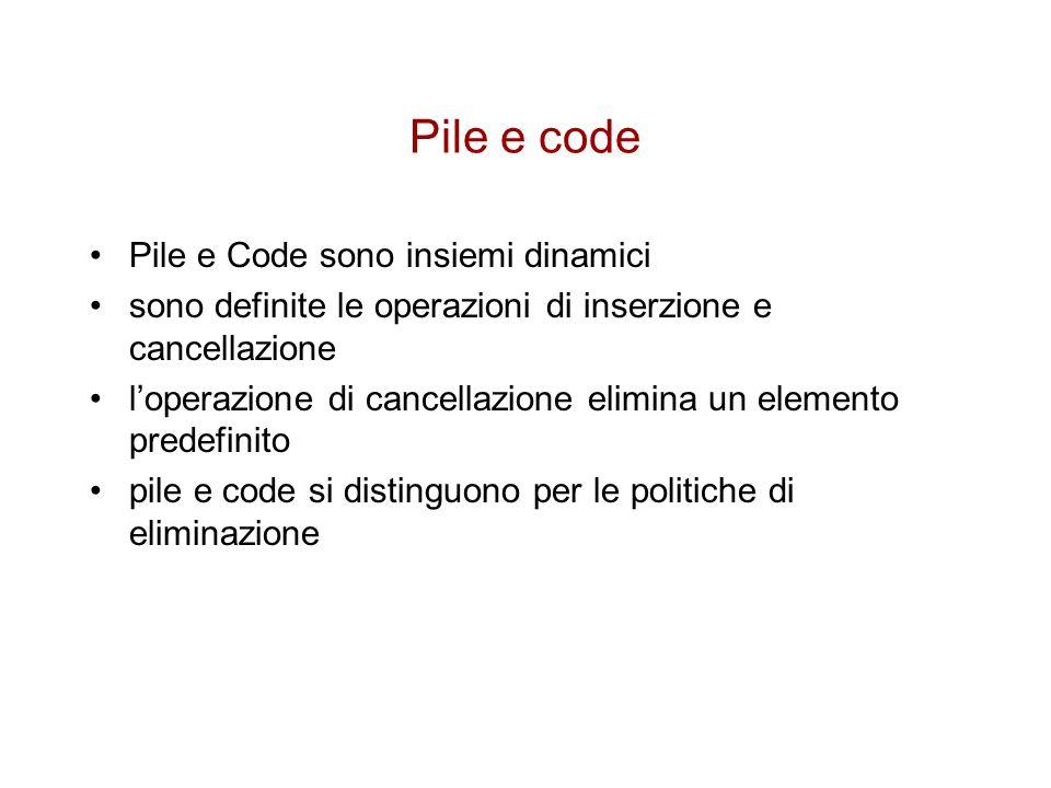Pile e code Pile e Code sono insiemi dinamici sono definite le operazioni di inserzione e cancellazione l'operazione di cancellazione elimina un elemento predefinito pile e code si distinguono per le politiche di eliminazione