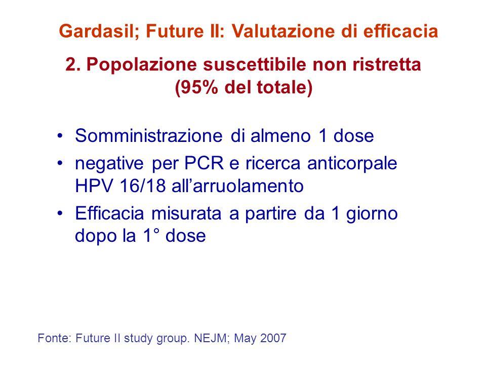 2. Popolazione suscettibile non ristretta (95% del totale) Somministrazione di almeno 1 dose negative per PCR e ricerca anticorpale HPV 16/18 all'arru