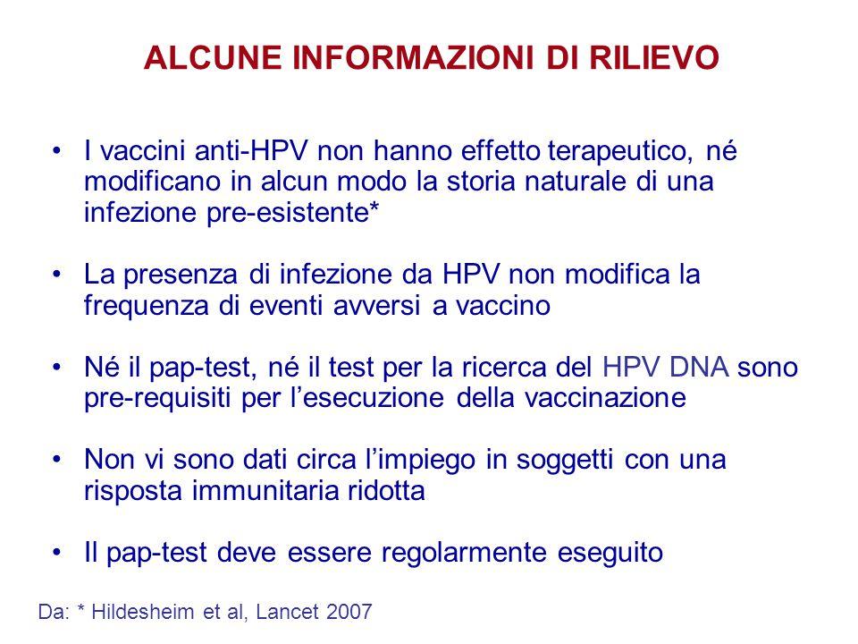 ALCUNE INFORMAZIONI DI RILIEVO I vaccini anti-HPV non hanno effetto terapeutico, né modificano in alcun modo la storia naturale di una infezione pre-e