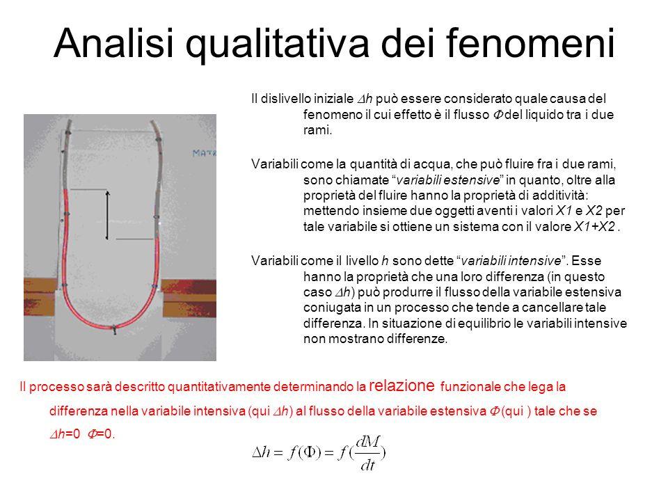 Analisi qualitativa dei fenomeni Il processo sarà descritto quantitativamente determinando la relazione funzionale che lega la differenza nella variab