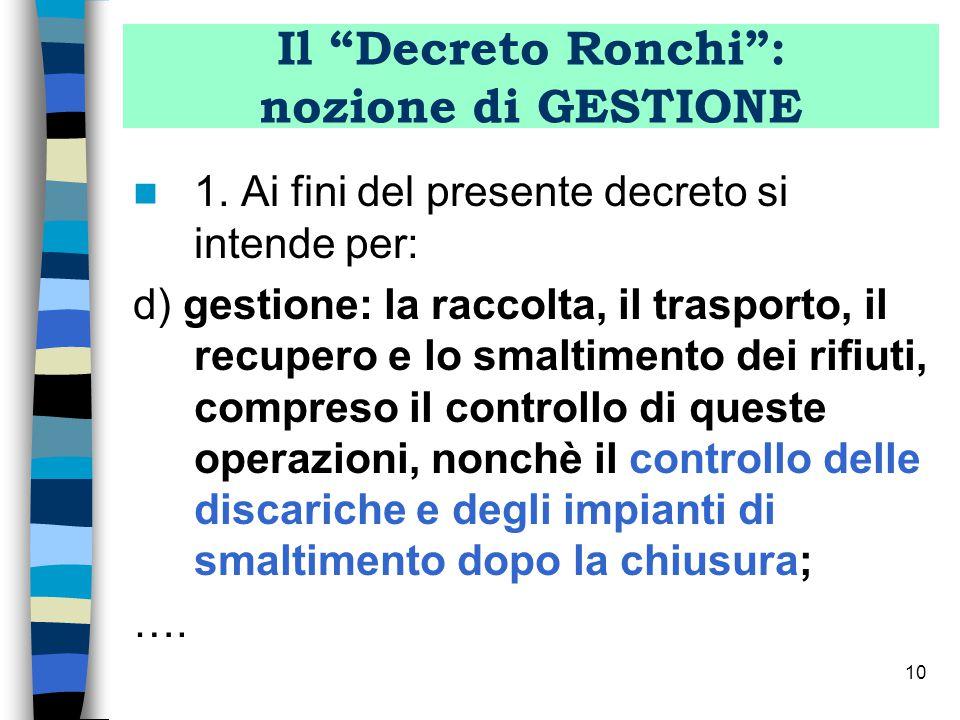 9 Il Decreto Ronchi D.Lvo 5.02.97 Gestione dei rifiuti Fasi (art.6, lett d ): raccolta trasporto recupero o smaltimento controllo