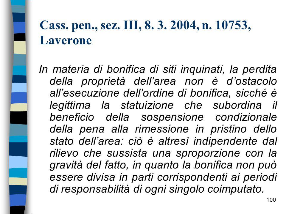 99 Cass.pen., sez. III, 16 settembre 2003, n.