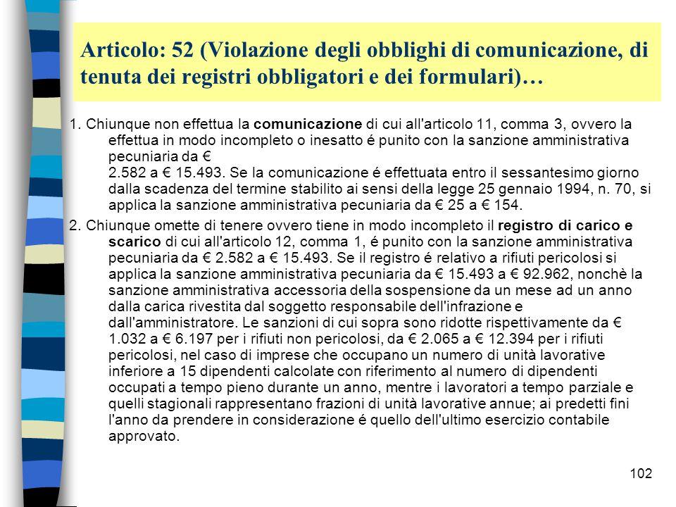 101 Articolo: 52 ( Violazione degli obblighi di comunicazione, di tenuta dei registri obbligatori e dei formulari )