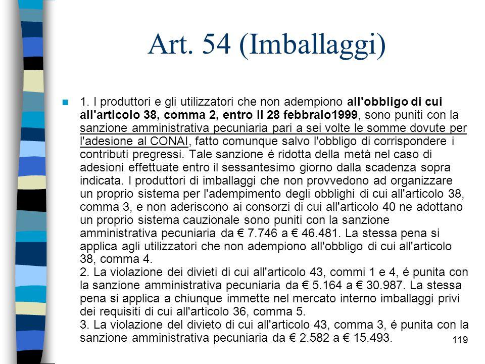 118 Articolo: 54 (Imballaggi)