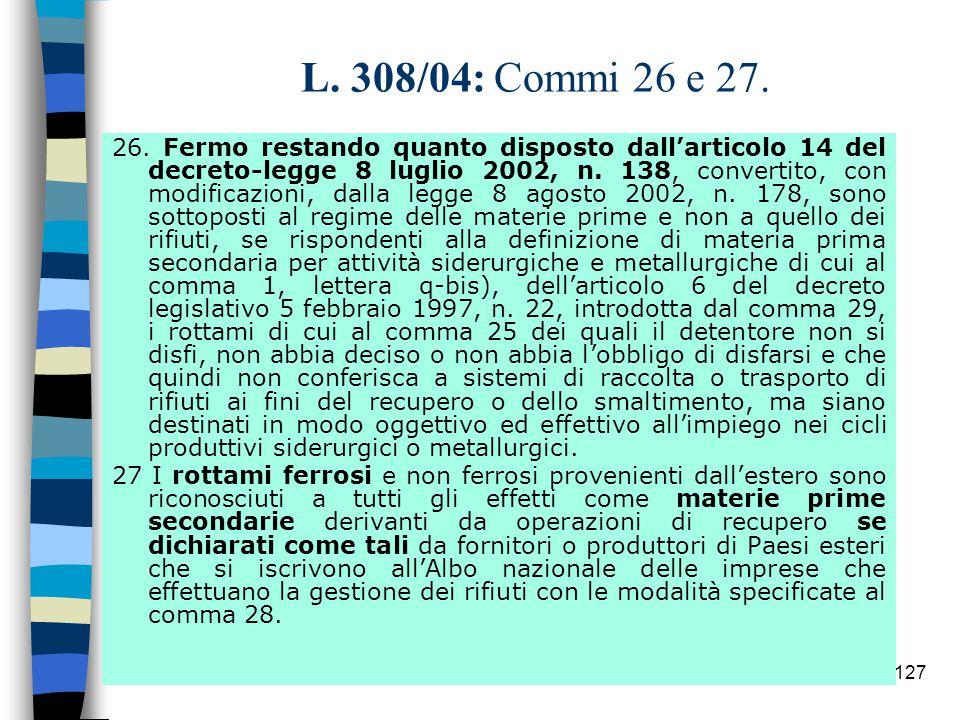 126 T.U.rifiuti.  CRITERI (c.