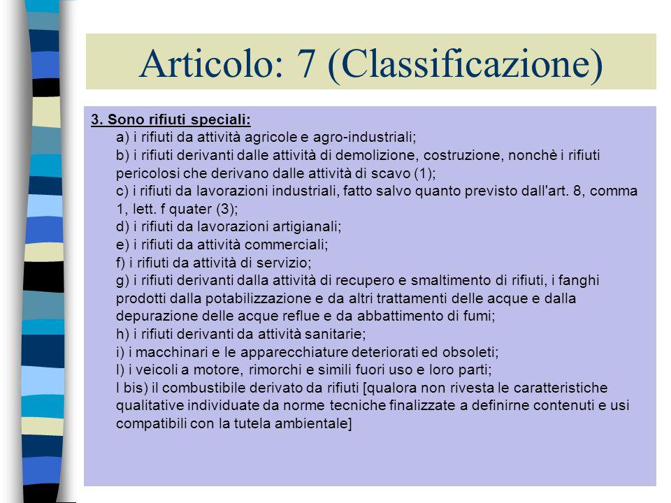 20 Articolo: 7 (Classificazione) 1.