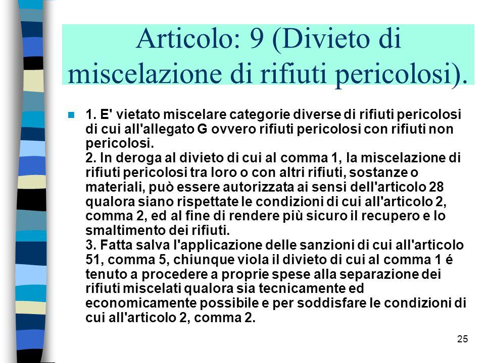 24 Articolo: 8 (Esclusioni) ------ f) i materiali esplosivi in disuso; f bis) le terre e le rocce da scavo destinate all effettivo utilizzo per reinterri, riempimenti, rilevati e macinati, con esclusione di materiali provenienti da siti inquinati e da bonifiche con concentrazione di inquinanti superiore ai limiti di accettabilità stabiliti dalle norme vigenti ; f ter) i materiali vegetali non contaminati da inquinanti in misura superiore ai limiti stabiliti dal decreto del Ministro dell ambiente 25 ottobre 1999, n.