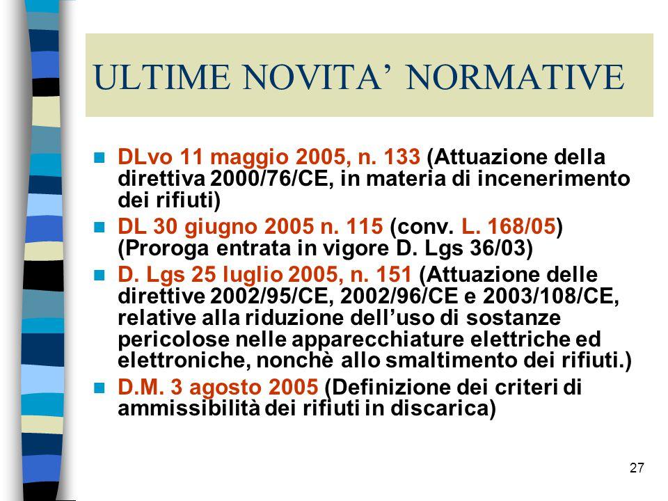 26 Il Decreto Ronchi e la normativa tecnica di applicazione D.M.