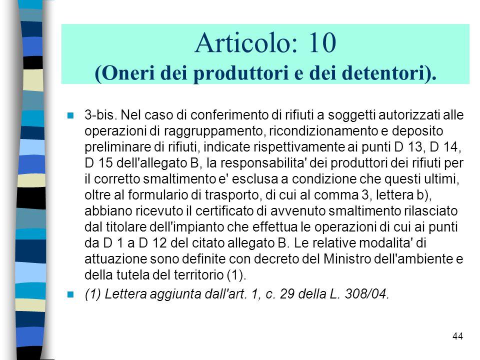 43 Articolo: 10 (Oneri dei produttori e dei detentori).
