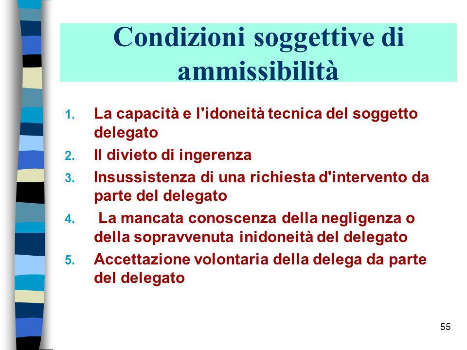 54 Condizioni oggettive di ammissibilità 1.Dimensioni (ARTICOLAZIONE) dell impresa 2.
