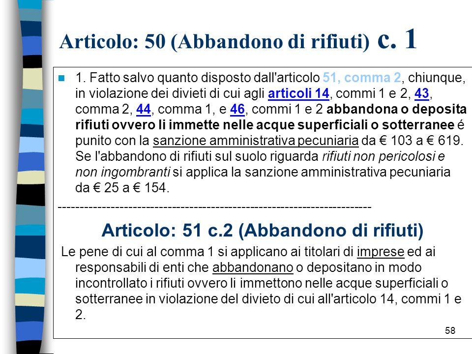 57 Articolo: 50 (Abbandono di rifiuti)